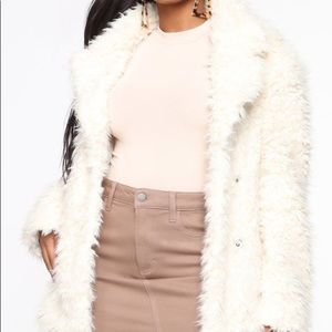 FASHION NOVA in my heart fuzzy coat